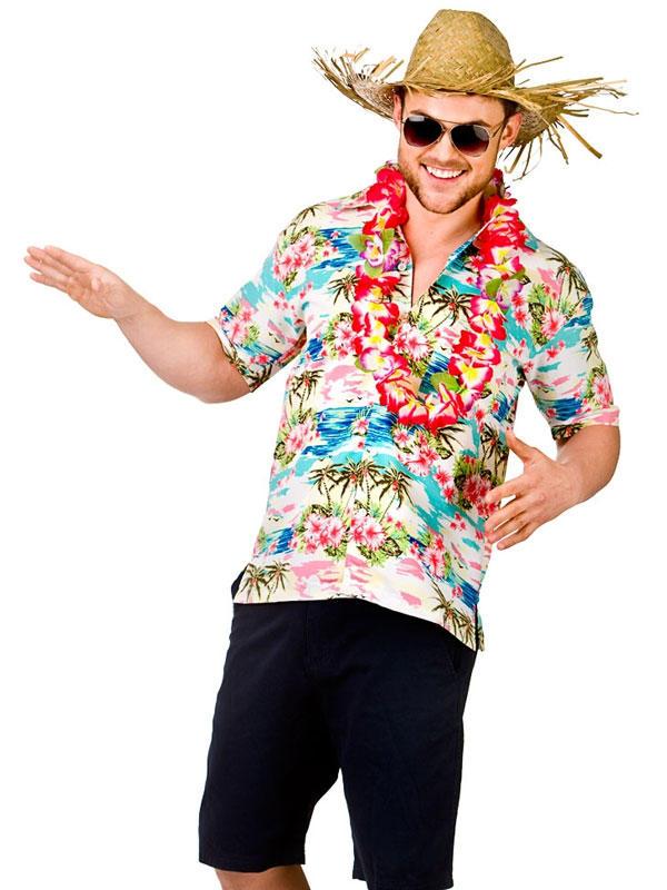 Adult Mens Hawaii Shirt Pink Flower & Palm Trees