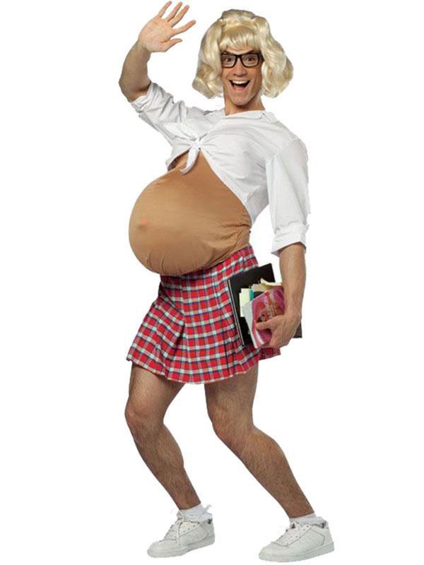 Pregnant Schoolgirl Costume Adult Mens Ladies Fat Belly Suit Nerd Skirt New  Plymouth -8565