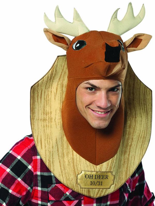 63c16f922 Adult Oh Deer Hunter Trophy Head Fancy Dress Hat Hood Cap Funny ...