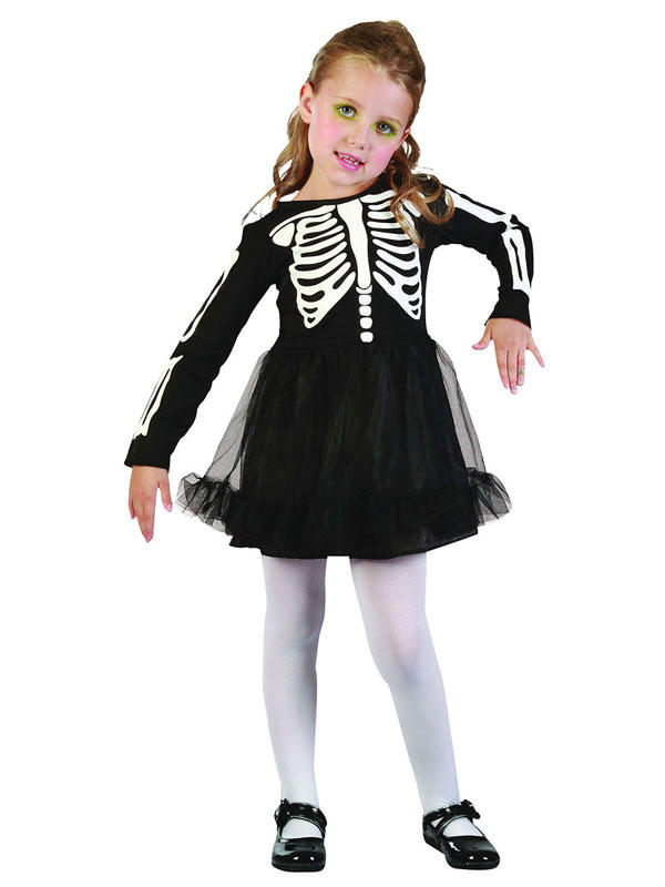Child Girls Skeleton Dress Costume