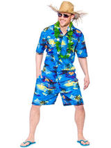 Adult Mens Hawaiian Party Guy Blue Palm Shirt & Short