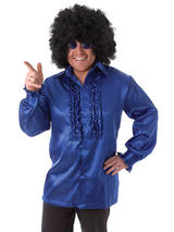 Satin Shirt & Ruffles Blue