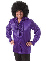 Satin Shirt & Ruffles Purple