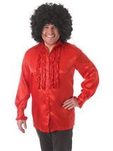 Satin Shirt & Ruffles Red