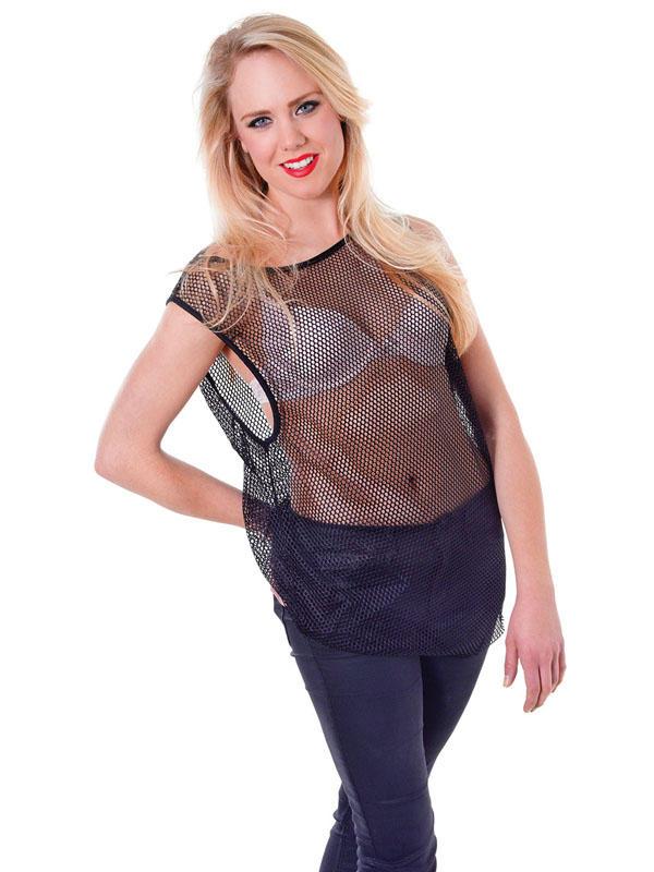 String Vest Black Thumbnail 2