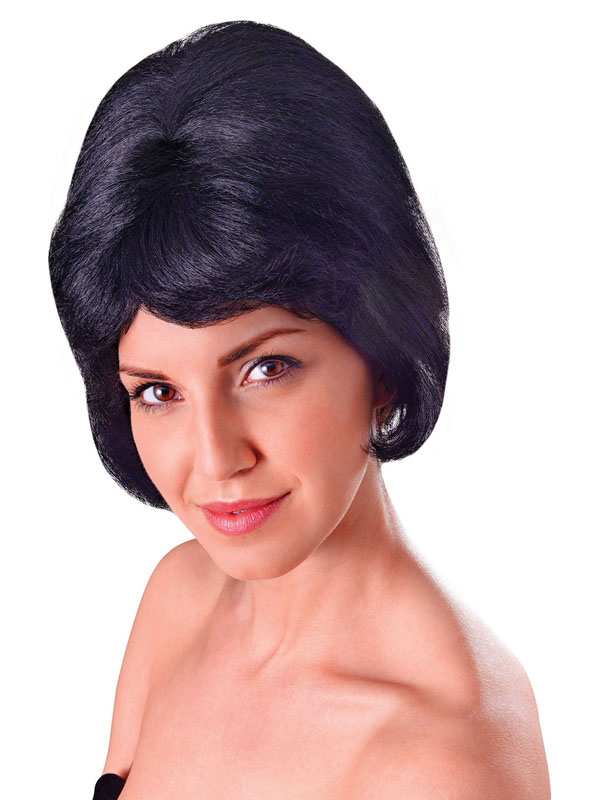 Adult Ladies High Beehive Fibre Black Wig