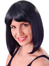 Adult Ladies Cheerleader Black Fibre Wig