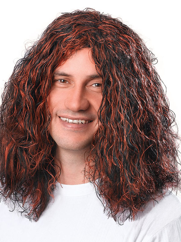 Adult Mens Man'S Hippy Brown Black Wig