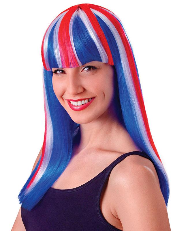 Adult Ladies Unionjack Wig Long