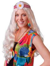 Adult Ladies Hippy Lady Blonde Flower Wig