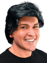 Adult Mens Mans Side Parting Black Wig