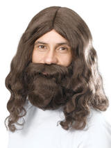 Adult Mens Hippy Jesus + Beardset Wig