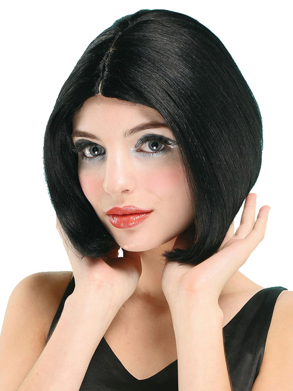 Adult Ladies Centre Parting Black Skin Top Wig