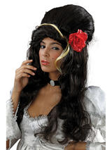 Adult Ladies Beehive Black +Rose Wig