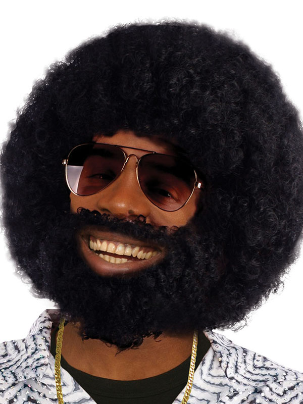 Adult Afro Wig With Facial Hair