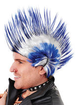 Adult Mens Mohican Blue White Wig