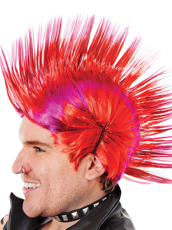 Adult Mens Mohican Red Purple Wig