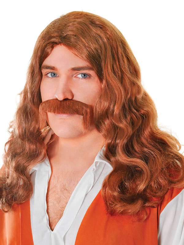 Adult Mens Hippy Man + Tash Set Brown Wig