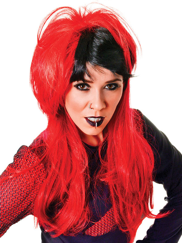 Adult Ladies Punk Ladies, Red Black Wig