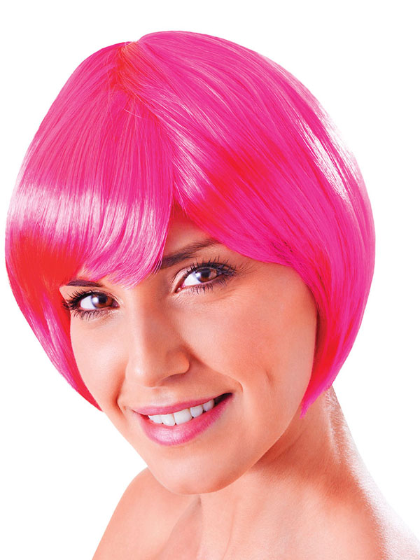 Adult Ladies Flirty Flick Neon Pink Wig