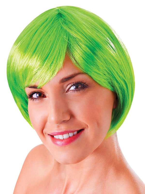 Adult Ladies Flirty Flick Neon Green Wig