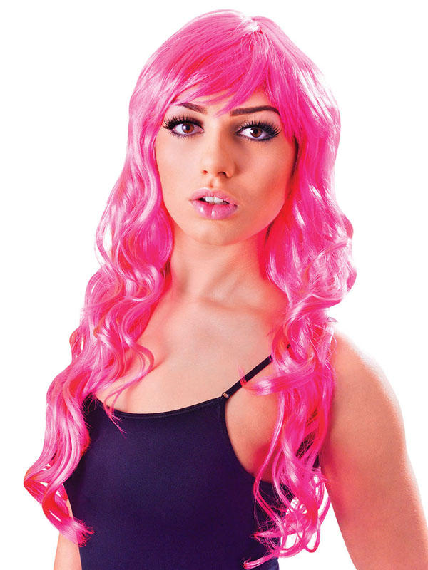 Adult Ladies Vixen Wavy Wig Neon Pink Wig