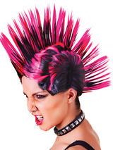 Adult Ladies Mohican Pink Black Wig