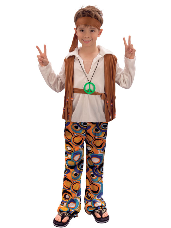 Boys Hippie Hippy Boy Costume Child Kids 1960s 1970s 60s 70s Retro Disco Party