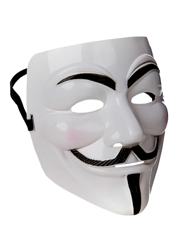 Adult Mens White Anonymous Mask