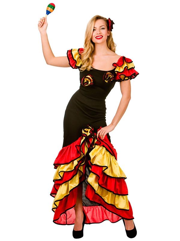 SENORITA-SPAGNOLA-RUMBA-Salsa-Flamenco-Dancer-Danza-Donna-  sc 1 st  eBay & Spanish Senorita Rumba Salsa Flamenco Dancer Dance Ladies Fancy ...