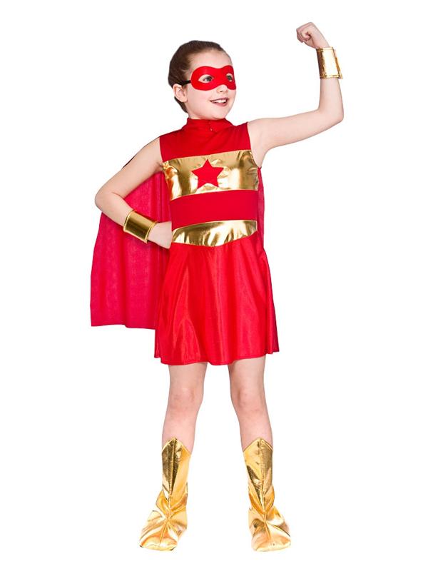 super heros rouge robe fantaisie fille bande dessinee - Super Heros Fille