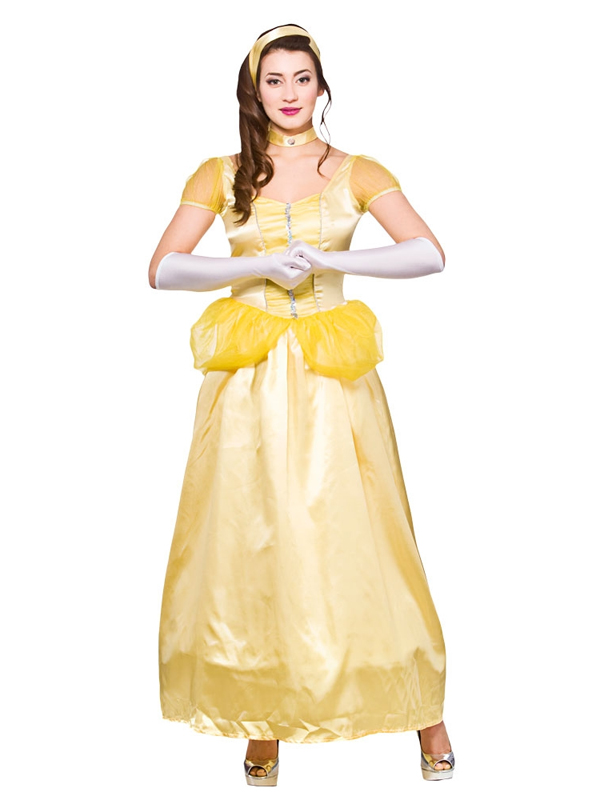 Adult ladies princess belle beauty and the beast fairytale fancy dress costume ebay - Deguisement belle et la bete adulte ...