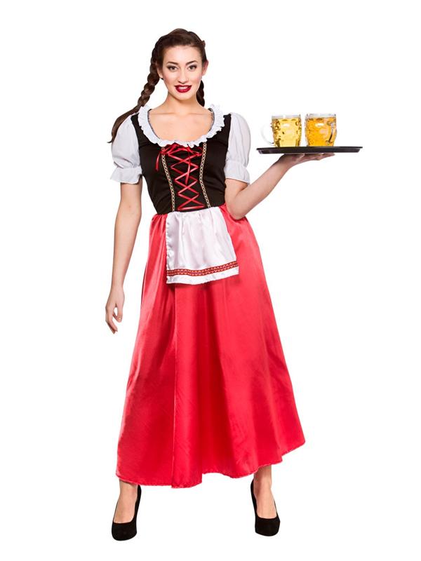 Damen-Oktoberfest-Bayerisch-Bier-Wench-Deutsches-Lederhosen-Kostuem-NEU