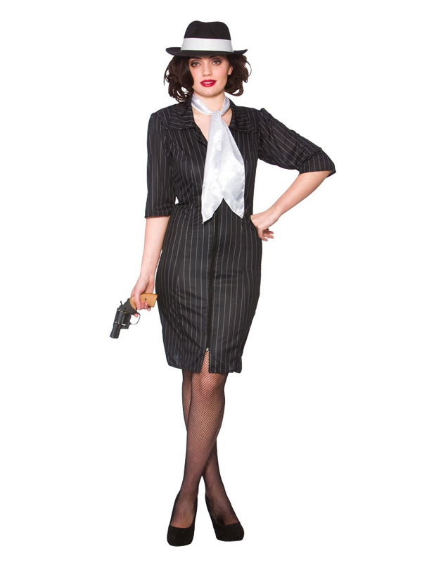 Ladies Gangster Gal 1920s 30s Moll Costume Pinstripe Womens Fancy Dress Outfit | eBay