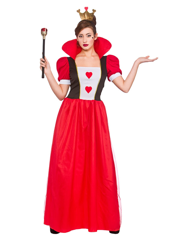 Womens Storybook Queen Of Hearts Alice Adult Fancy Dress Costume ...