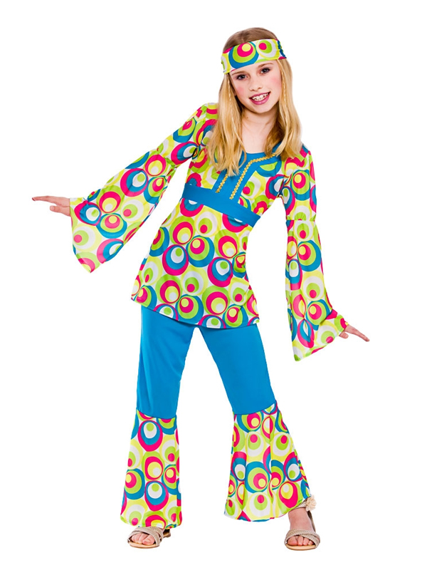 childrens hippy girl fancy dress costume 60s 70s hippie