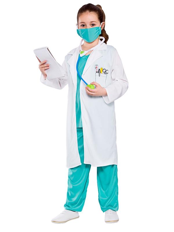 9fee5092b9 Sentinel Child Doctor Nurse Surgeon Scrubs E.R Fancy Dress Costume Kids 3-10  Years New