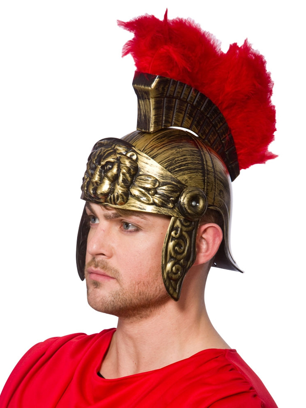 Top Piece Mens Roman Helmet With Feathers