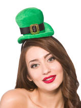 Adult Ladies Deluxe St Patricks Mini Hat On Headband