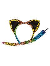 Ladies Animal Ears & Tail Neon Leopard