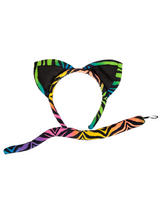 Ladies Animal Ears & Tail Neon Tiger
