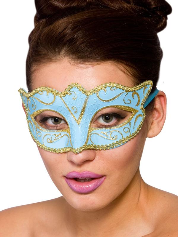 Adult Ladies Verona Eye Mask Blue & Gold