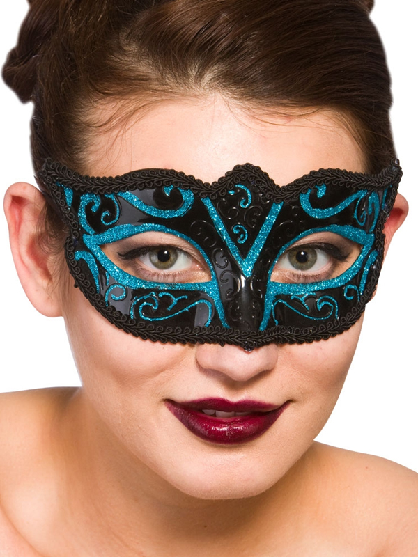 Adult Ladies Verona Eye Mask Blue Glitter