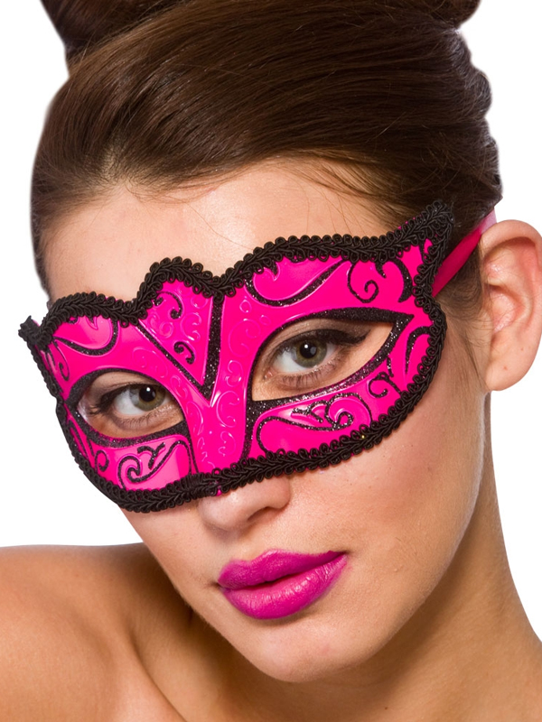 Adult Ladies Verona Eye Mask Pink & Black