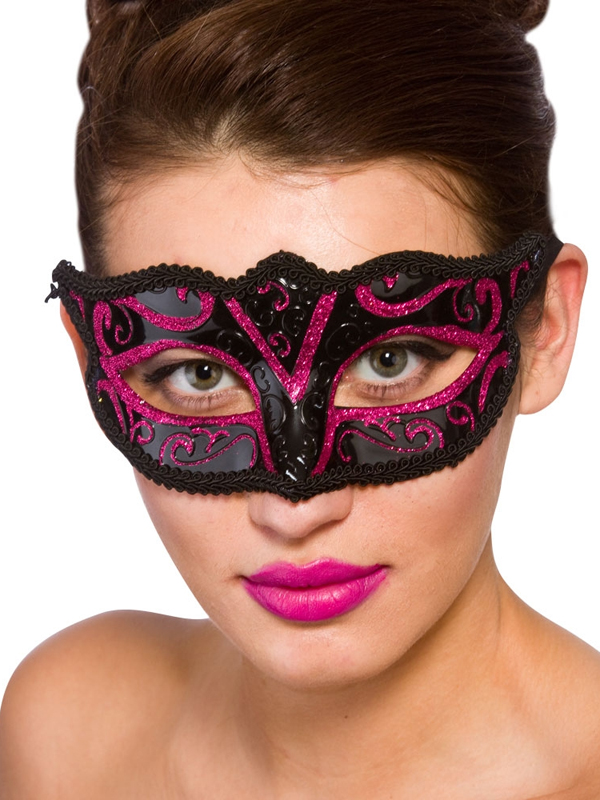 Adult Ladies Verona Eye Mask Pink Glitter