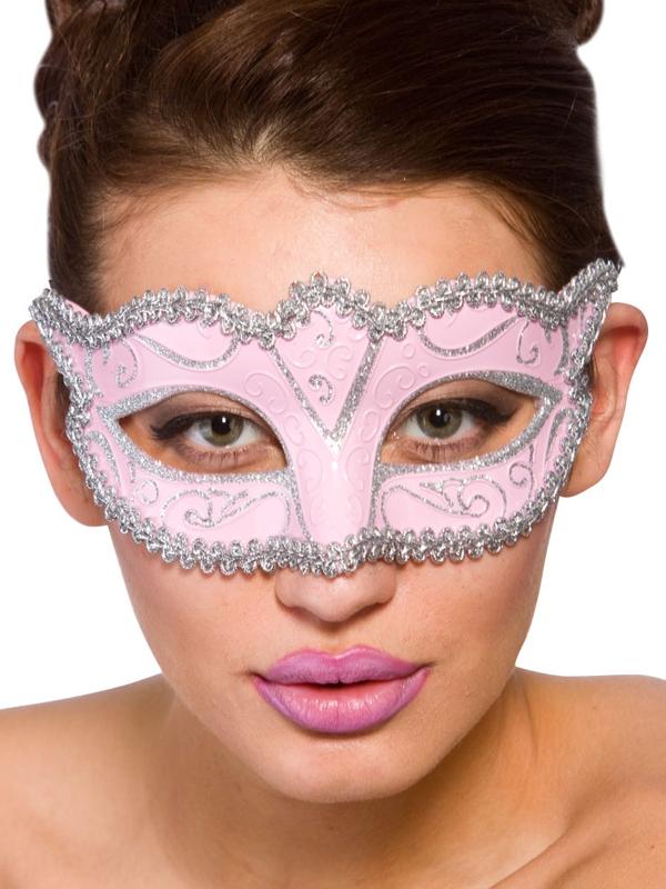 Adult Ladies Verona Eye Mask Pink & Silver