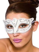 Adult Ladies Verona Eye Mask White & Silver