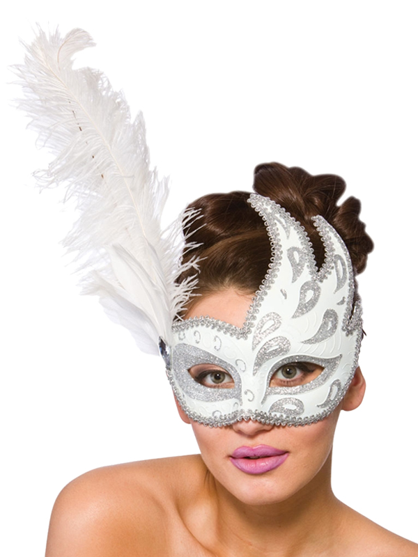 Adult Ladies Salerno Eye Mask White & Silver