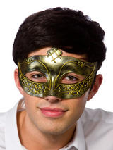 Adult Mens Gladiator Eye Mask Antique Gold