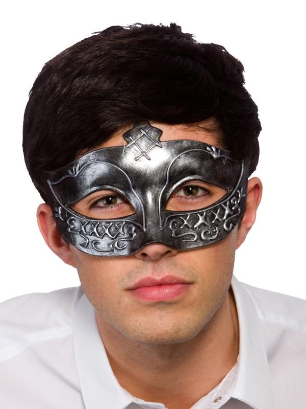 Adult Mens Gladiator Eye Mask Antique Silver